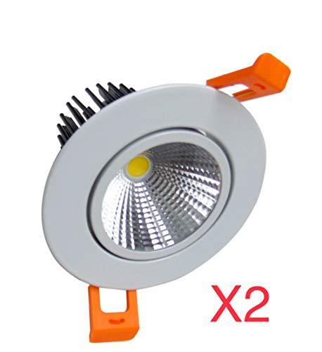 (LA) Pack 2 X panneau LED LED 7 W Coupe 65 mm pour Faux Plafond avec 650 lumens réels, diamètre 85 mm, Couleur neutre 4500 K