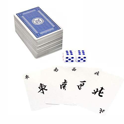 Lopbinte 144 Piezas /Juego Mah Jong Mahjong De Papel Juego De Naipes Chinos con 2 Piezas Dados Entretenimiento Portátil De Viaje Juego De Naipes Nuevo