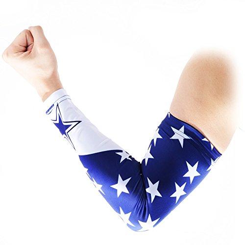 COOLOMG Arm Sleeves Armwärmer Ärmlinge Kompression Bandage Rutschfest Anti UV Running Radsport für Damen Herren 1 Paar Star S
