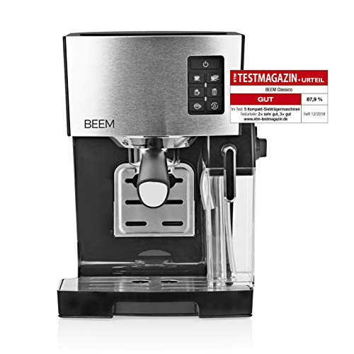 Beem 03428 Espresso-Siebträgermaschine 1110SR-Elements of Coffee & Tea, 1450 W, 19 bar, Milchaufschäumer, Schwarz/Edelstahl