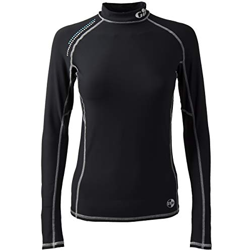 Gill Womens Pro Langarm Rash Vest Top Schwarz - Easy Stretch UV-Sonnenschutz und SPF-Eigenschaften -
