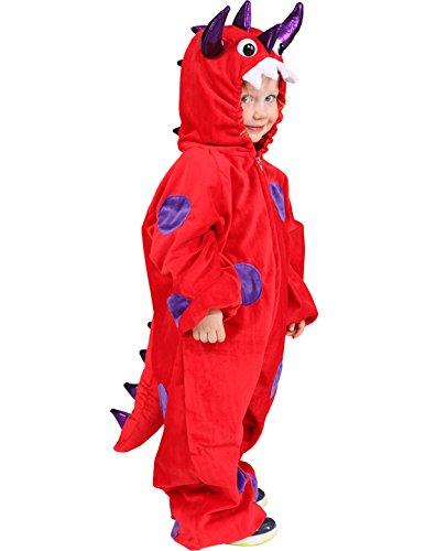 Little Dragon, formato 116/128, bambini tuta rosso e viola Mardi