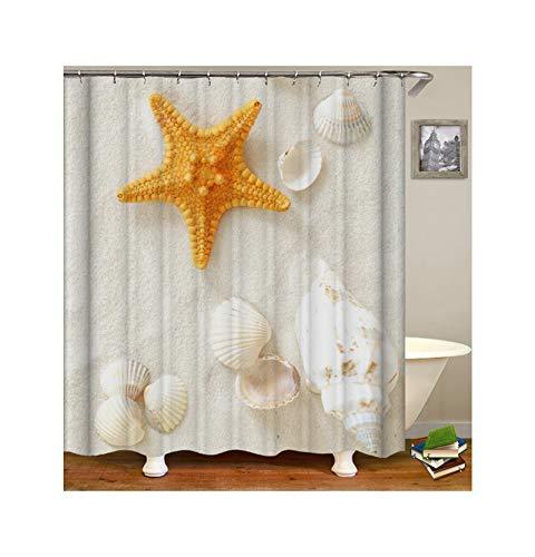 KnSam Duschvorhang Anti-Schimmel Wasserdicht Vorhänge An Badewanne Bad Vorhang für Badezimmer Seestern Und Muscheln 100% Polyester inkl. 12 Duschvorhangringen 165X200cm (Badezimmer Vorhänge Muscheln)