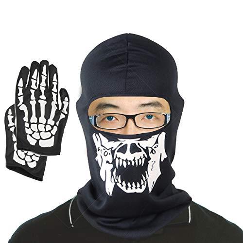 Ghost Kostüm Face Muster - Kungfu Mall Halloween White Skeleton Handschuhe und Motor Skull Face Mask Halloween Kostümzubehör Ghost Bones für Halloween Party Kostüm Outdoor Sport Wear