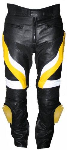 Herren Motorradhose Motorrad Biker Racing Lederhose Rindsleder Gelb/Schwarz, Größe:48