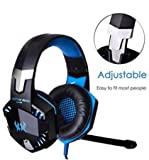 Gaming Headset KOTION EACH G2000 with Microphone for PS4 Bass Stereo Noise Isolation Over-ear [ One Key Mute ] Professional Headphone [ with Mic / LED Light / HiFi Driver ] for PC PS4 Pro Xbox One S [ 3.5mm & USB port with Headset Adapter ]
