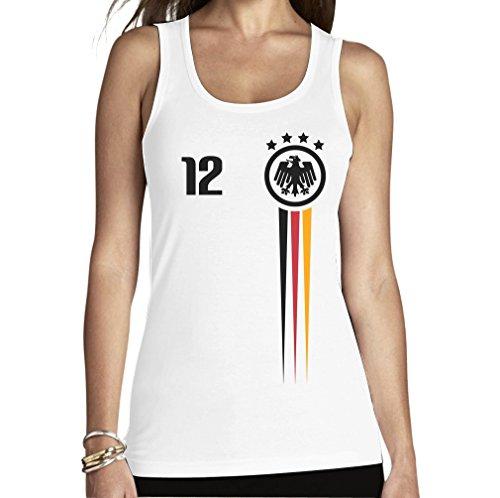 Der 12. Mann - Deutschland Fußball Fanartikel EM 2016 Frauen Tank Top Medium Weiß
