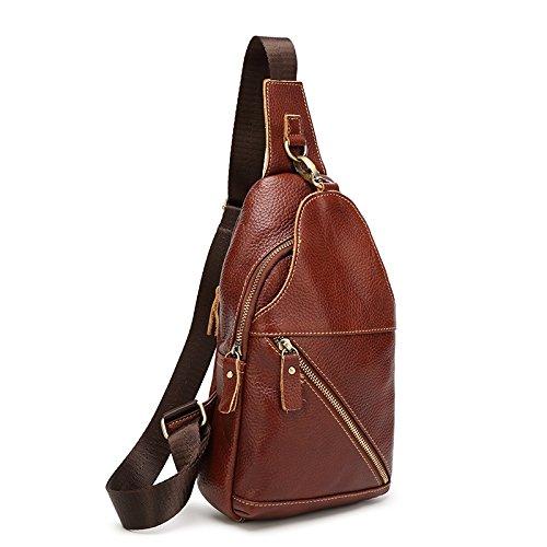 Mefly Unica Borsa A Tracolla In Pelle Retrò Bag Marrone Scuro Dark brown
