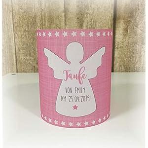 4 x Windlicht Tischlicht Tischdeko Transparentpapier Taufe Geburtstag Jugendweihe Kommunion Konfirmation Engel Schutzengel rosa pink
