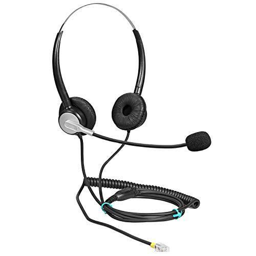 Ymate RJ11 - Auricolari Mono con Microfono a cancellazione del Rumore, compatibili con Snom 300 320 360 370 710 720 760 820 821 870 Avaya 1608 1616 9608G 9611G Yealink T42G