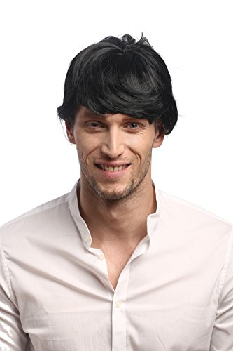 Wig me up ® - 91087-za103 parrucca uomo carnevale halloween corta nero frangetta