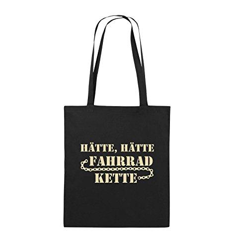Comedy Bags - HÄTTE HÄTTE FAHRRAD-KETTE - Jutebeutel - lange Henkel - 38x42cm - Farbe: Schwarz / Silber Schwarz / Beige