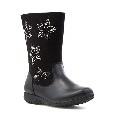 Walkright Girls Black Calf Boot with Stars - Size 10 - Black