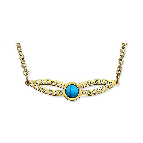 Laimons collana da donna maschera carnevale finitura lucida in oro blu con brillantini acciaio inox