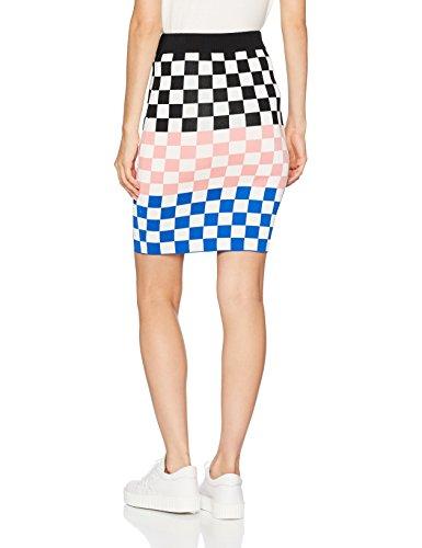 House Of Holland Damen Rock Knit Checkboard Mini Skirt Black (Black Multi)