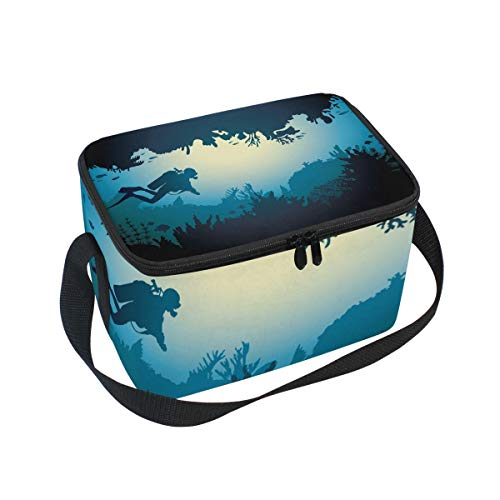SKYDA Lunchpaket Box Insulated Lunchpaket Bag Large Cooler Sea Cave with Diver and Coral Reef Tote Bag for Men, Women, Girls, Boys (Bag Tote Coral)
