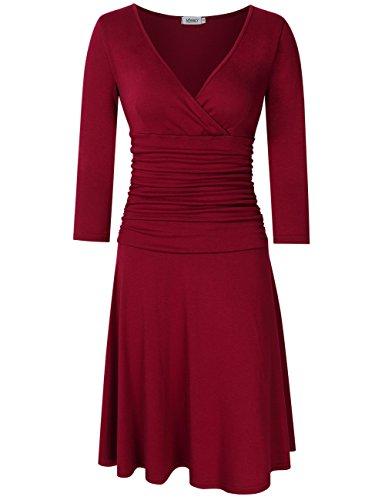 Frauen-reizvoller V-Ansatz 3/4 Hülse, die elegante Taillen-Übergangs-Geschäft beiläufige A-Linie Kleider abnimmt (XL, Weinrot) (Crossover-mieder-kleid)