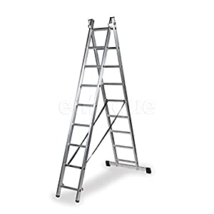 ALTIPESA Escalera Profesional de Aluminio transformable Apoyo-Tijera con Base un Acceso 2 x 9 peldaños Serie bis