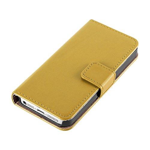 HANDYPELLE® Tasche für Apple iPhone SE / 5 / 5s im Bookstyle in Schwarz Gelb