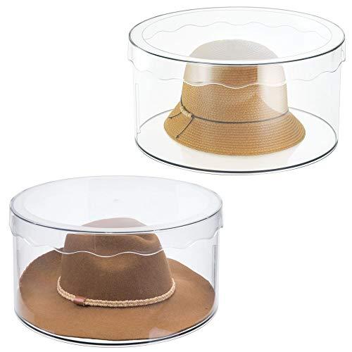 mDesign runde Aufbewahrungsbox mit Deckel – schafft Ordnung in jedem Zimmer – für Gürtel, Schals, Spielzeug – groß/durchsichtig - 2er Set