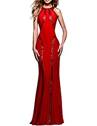 Vestiti Donna Estivi Eleganti Slim Fit Lungo Abiti De Sirena Cerimonia  Paillettes Retro Smanicato Girocollo Abito ffbd65e1107