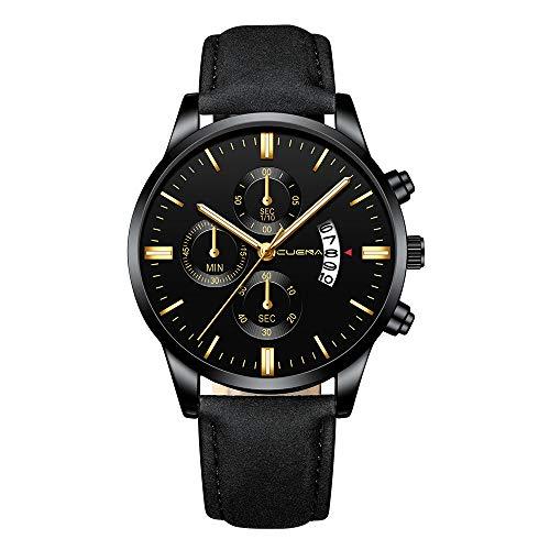 Luotuo Männer Armbanduhr Analog Quarz Chronograph -Wasserdicht Männer Business Uhr mit Leder Uhrenarmbänder-Multifunktionale Quarz Sports Watch Mode Luxus Design Wrist Watch