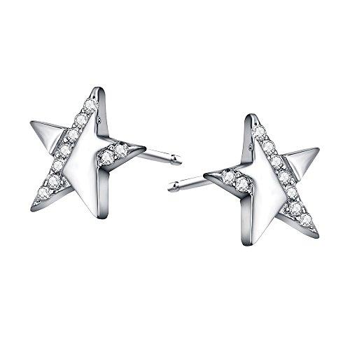 AoedeJ Puzzle Star Stud Pendientes de Plata de Ley Circonita Cubica Stud Pendientes para Niñas y Mujeres