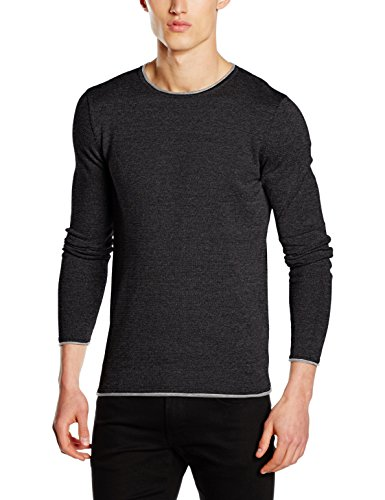 SELECTED HOMME Herren Pullover Shnklop Crew Neck Noos, Schwarz (Black Detail:Light Grey Inside), Medium