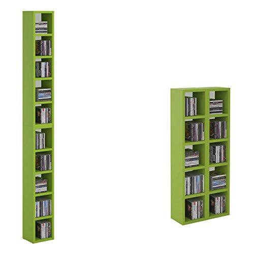 CARO-Möbel CD DVD Regal Standregal Medienregal Chart in Grün/Weiß mit 10 Fächern für bis zu 160 CDs, 20x186,5 cm (Breite x Höhe) (Bücherregal Grün)