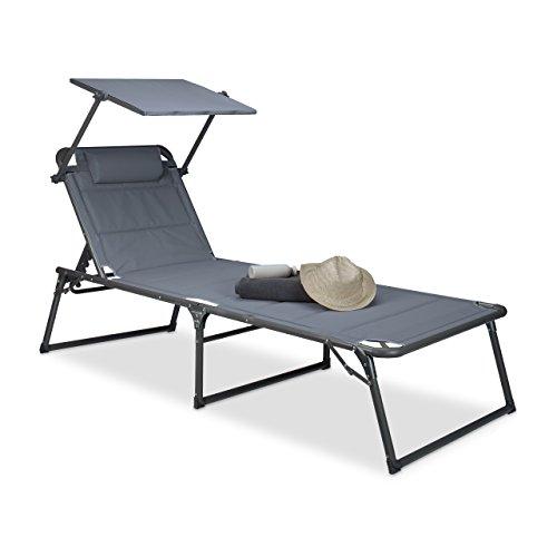 Relaxdays Tumbona Plegable XXL con Techo, Antracita, 200x70x111 cm