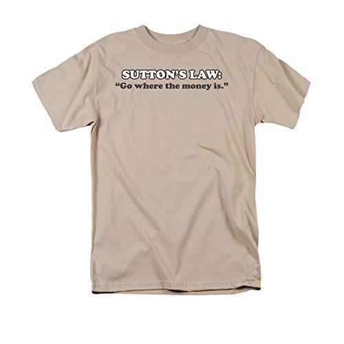 """2Bhip Sutton gesetz """"gehen, wo das geld ist"""" T-shirt für Herren X-Groß Beige (Erwachsene T-shirt Gesetz)"""