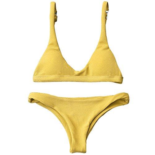 ZAFUL Damen Bikinis Triangle Bikini Set Badeanzug Push-up Bademode Swimsuit Swimwear (S, Gelb)