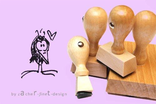 Motivstempel Robbi Rabe mit Herz - Stempel - Bilderstempel