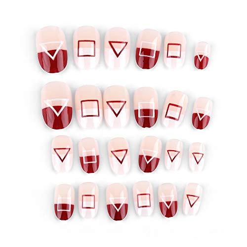 Demaxy Farbe Künstliche Nägel Sets, 24 PC/Box Nagelverlängerung 3D Matte New Französisch Stil Short Round falsche Nägel Maniküre Tips Nail Art Patch (Z16) (Nail Kurze Für Art Designs Halloween Nägel)