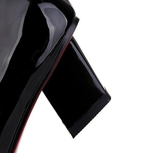 VogueZone009 Femme Fermeture D'Orteil Carré Tire Pu Cuir Couleur Unie à Talon Correct Chaussures Légeres Noir