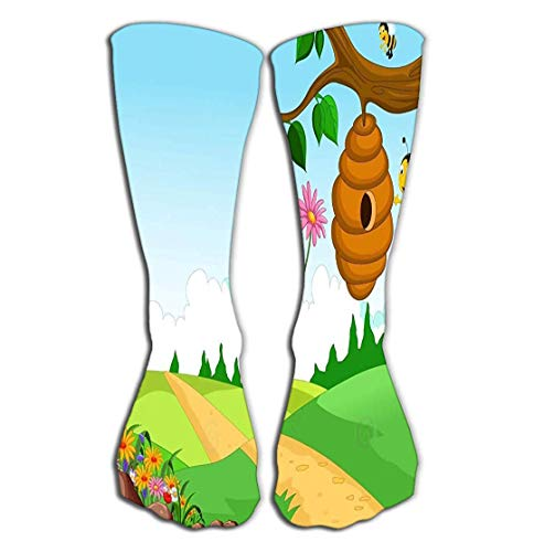 ouyjian Sport im Freien Mann-Frauen-hohe Socken, welche die Bienen-Karikatur hält Blumen-Bienenstock Forest Background auf Lager