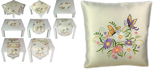 zauberhafte Kissenhülle 40x40 cm Creme Schmetterlinge Blüten Flieder Bunt Gestickt Kissenbezug mit Reißverschluss Frühling SOMMER (Kissenhülle 40x40 cm)