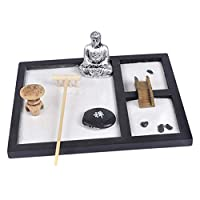 Fenteer Miniature Sandbox Kids Play Box Wooden Sand Box Silver Buddha For Backyard