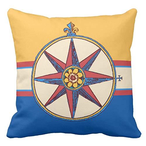Yacht Club Sailing Marina Compass Rose Elegant Kissenbezug Pillow Case Cushion Cover 18 x 18 inches Compass Rose Marine