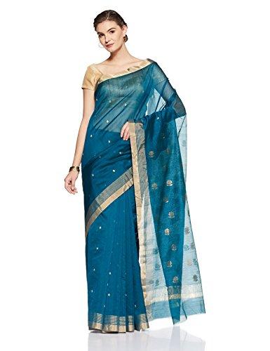 Gocoop Silk Saree With Blouse Piece (GCUMFSCSAA0162_Teal_One Size)