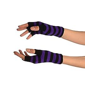Purple & Black Stripes Short Fingerless Gloves – Purple Designer Gloves