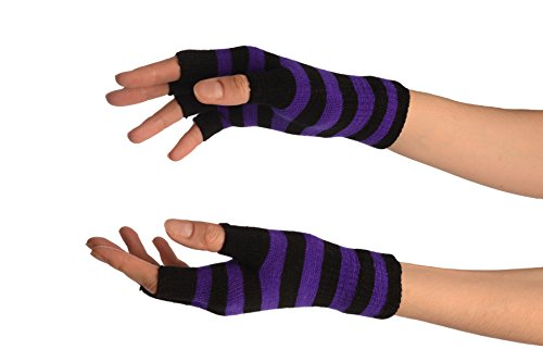 - 41kGJFRNOCL - Purple & Black Stripes Short Fingerless Gloves – Purple Designer Gloves
