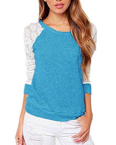 ZANZEA Sexy Broderie Dos Nu Shirt Dentelle Crochet Femme Tops Hauts Bleu