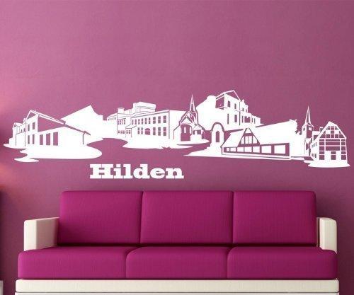 Wandtattoo Hilden Skyline XXL Wand Wohnzimmer Aufkleber Deutschland Stadt 1M172, Farbe:Rot Matt;Größe ( Länge):100 cm
