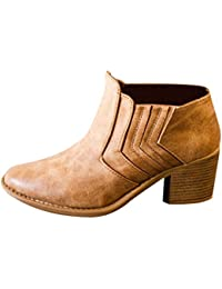 OULII Women Ankle Boots Short Cylinder Boots Ladies Leather Boots With High Heels (Brown)