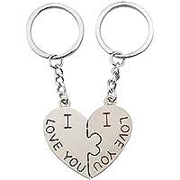 Paar Schlüsselbund Set mit ich liebe dich für Hochzeit, Geburtstag, Jubiläum 2 Stück Herz Liebe Schlüsselanhänger