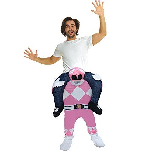 Morph Offizielle Unisex-Verkleidung Power Ranger Pink, Huckepack-Kostüm–mit Beinen -