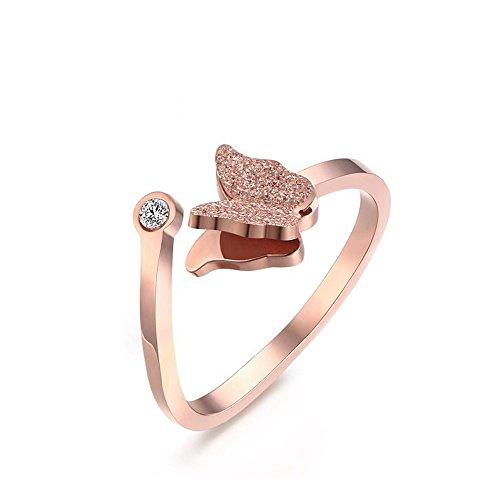 HooAMI Women's Rose Gold Stainless Steel Cute Butterfly Ear Stud Earrings Set/Necklace/Ring qSk5L3M