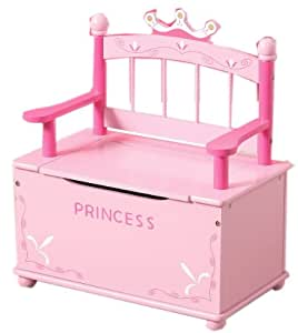 pink princess wooden bench and toy chest storage for girls room kitchen home. Black Bedroom Furniture Sets. Home Design Ideas