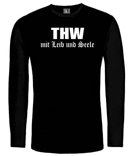 THW Mit Leib und Seele; LangarmShirt Schwarz